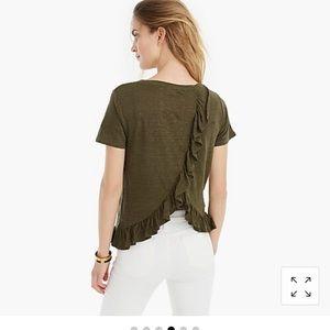 Jcrew linen ruffle back T-shirt